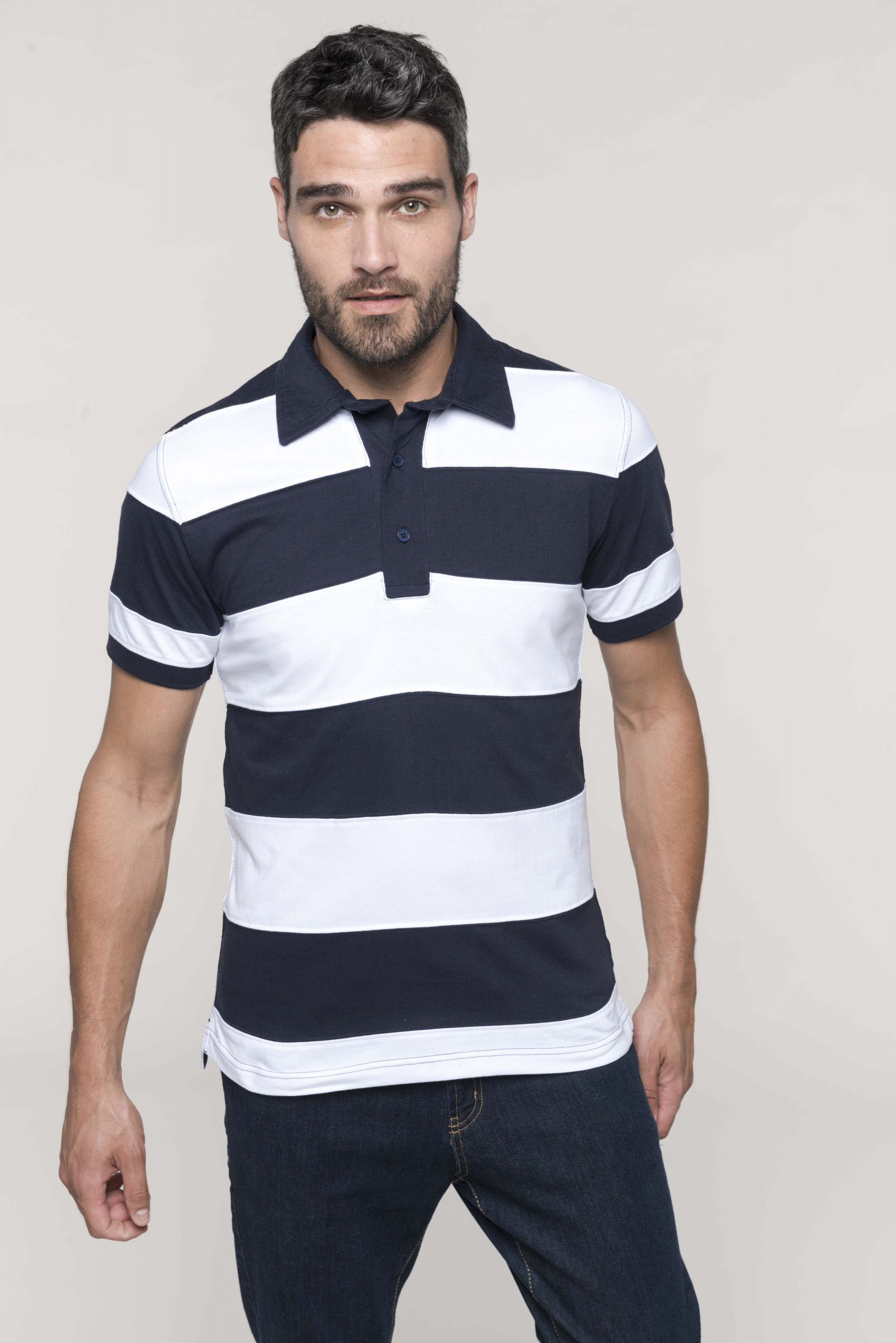 Ray - Sewn Stripe Short Sleeve Polo Shirt Men