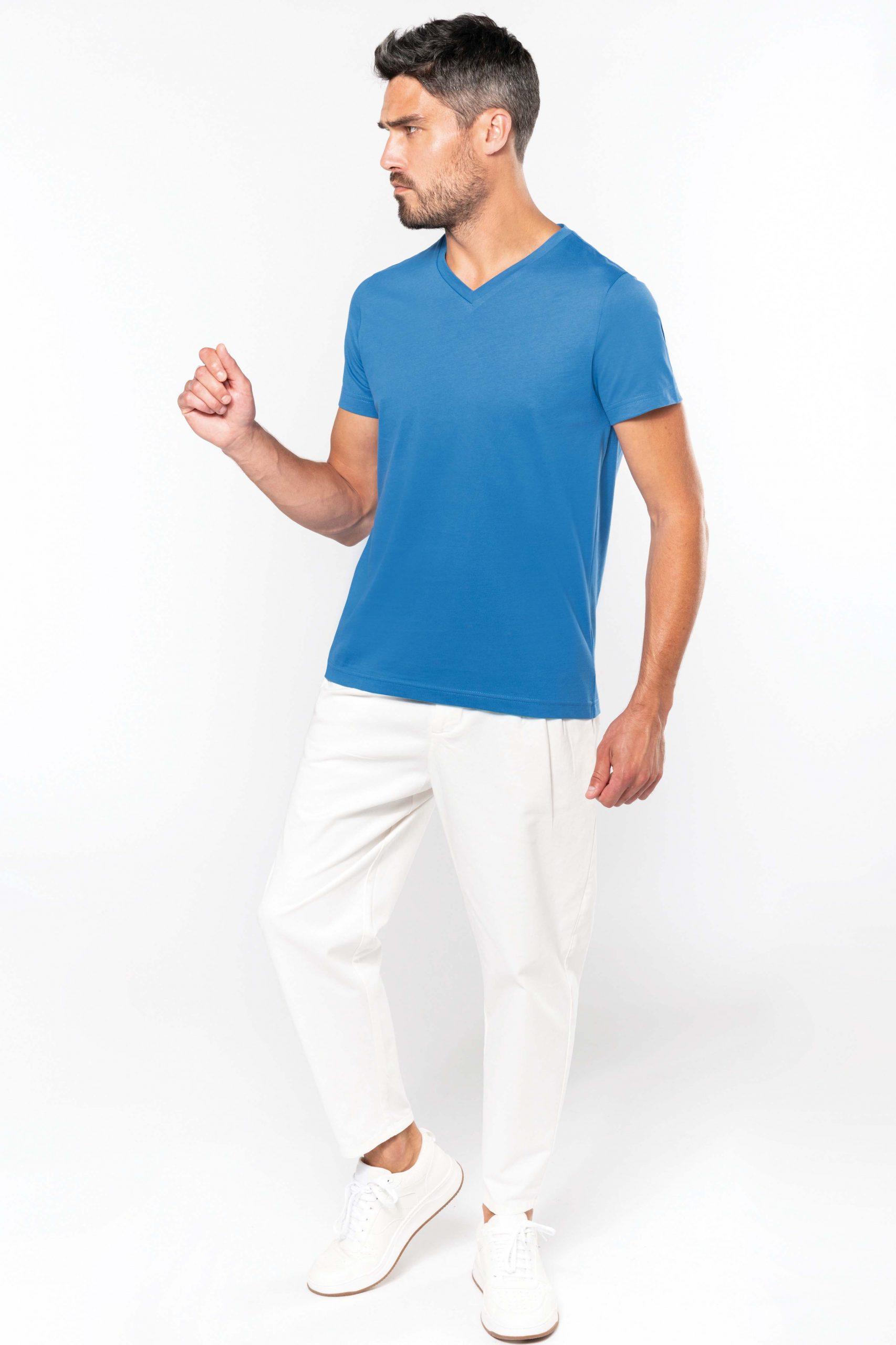 T-shirt Gekamd Enzymbehandeld Katoen V-hals Men