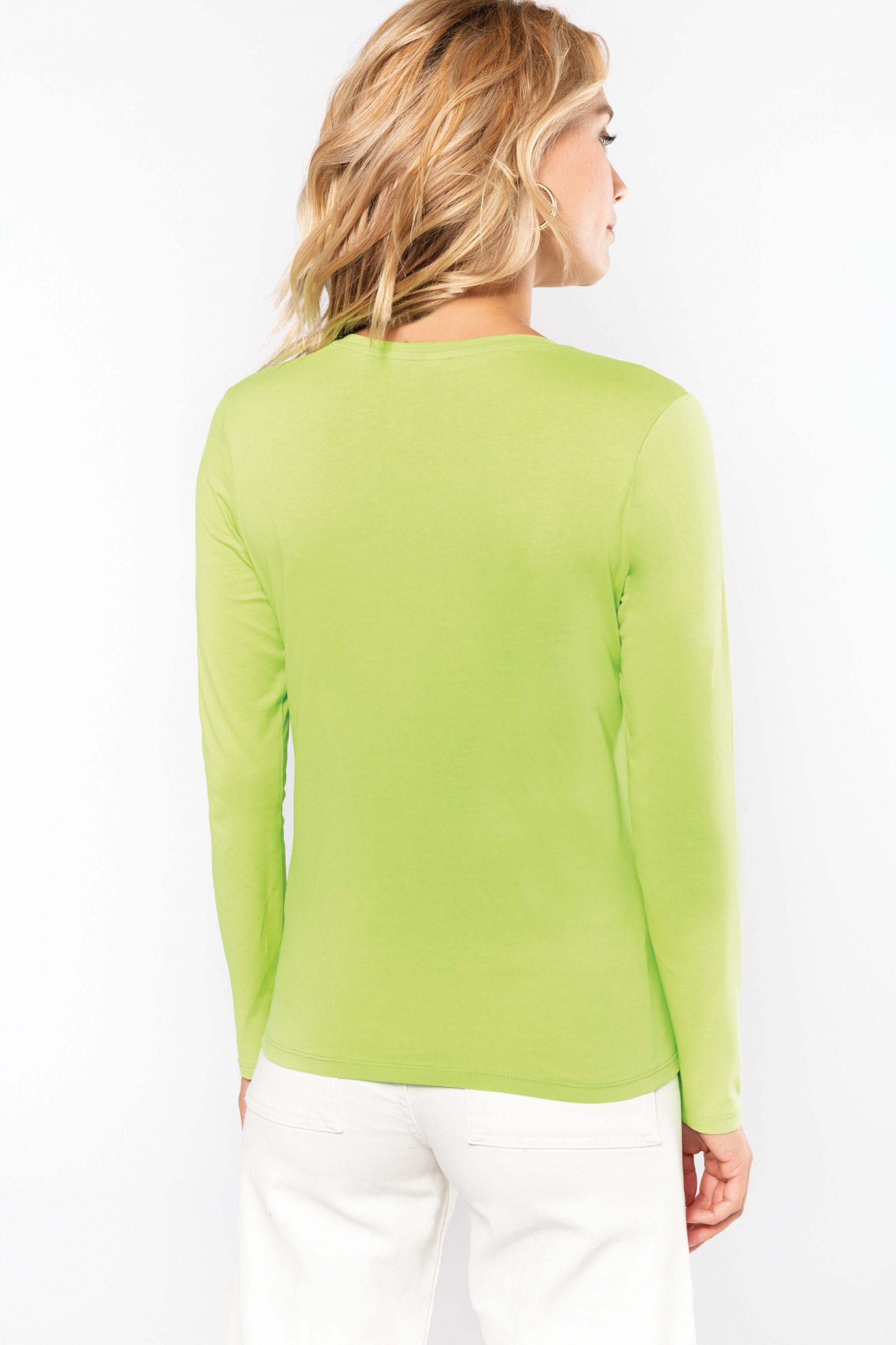 T-shirt Gekamd Enzymbehandeld Katoen V-hals Women