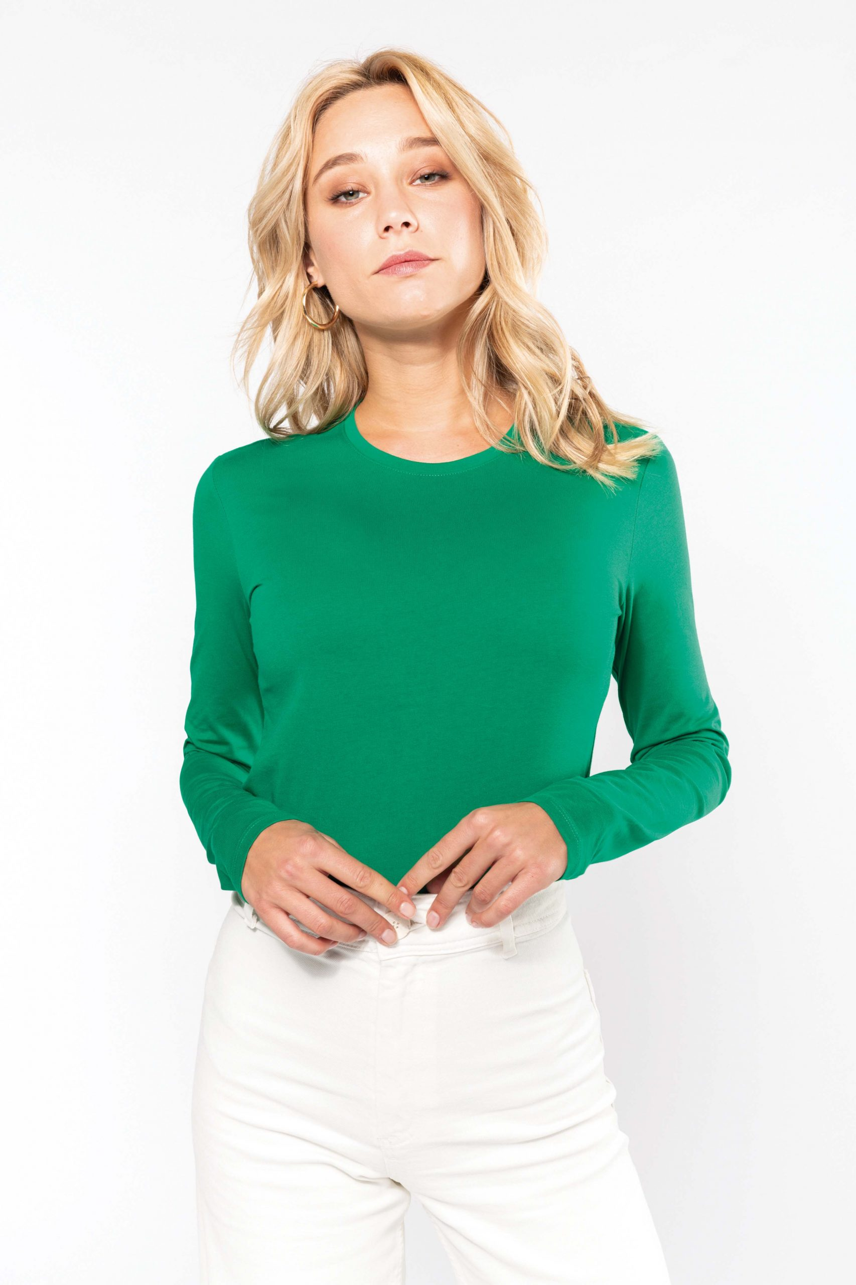 T-shirt Gekamd Enzymbehandeld Katoen Lange Mouw Women
