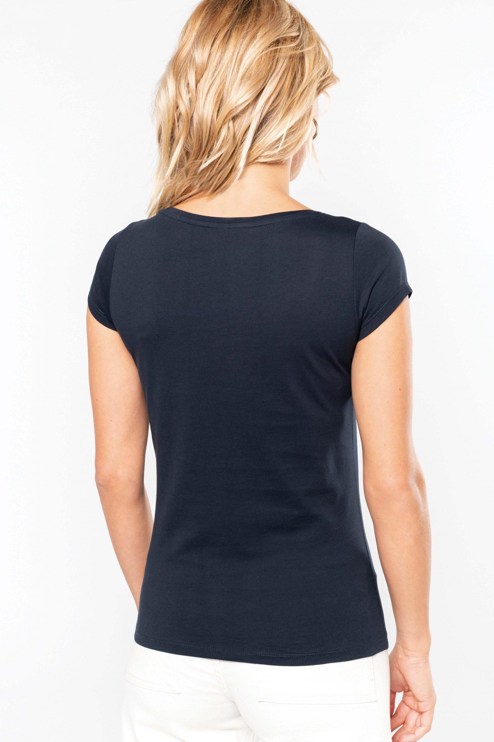 T-shirt Gekamd Enzymbehandeld Katoen en Boothals Women